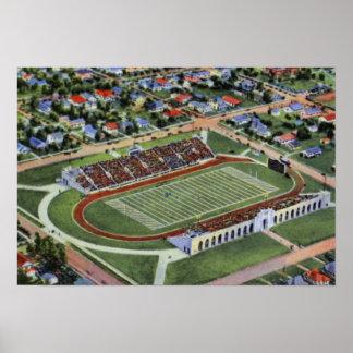 Universidad del estadio de Tulsa Oklahoma Skelly d Póster