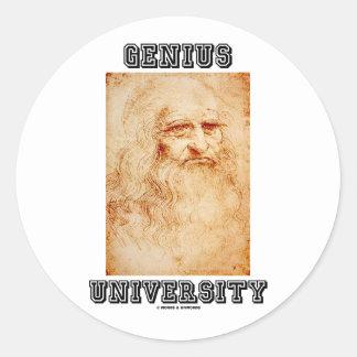 Universidad del genio (Leonardo da Vinci) Pegatina Redonda