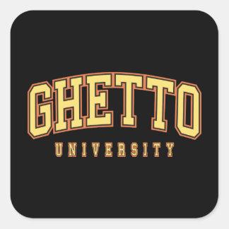 Universidad del ghetto pegatina cuadrada