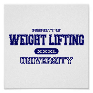 Universidad del levantamiento de pesas póster