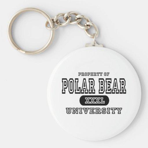 Universidad del oso polar llavero redondo tipo pin