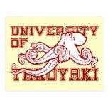 Universidad del pulpo japonés de Takoyaki divertid Tarjetas Postales
