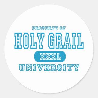 Universidad del santo grial pegatina redonda
