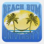Universidad del vago de la playa pegatina cuadrada