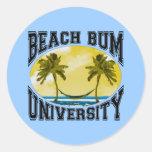 Universidad del vago de la playa pegatina redonda