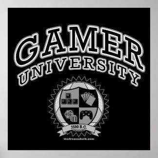 Universidad del videojugador (negro y blanco) póster