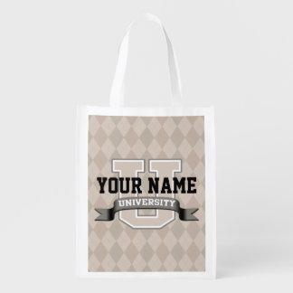 Universidad divertida fresca personalizada de la bolsas de la compra