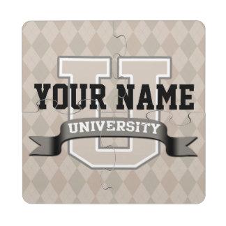 Universidad divertida fresca personalizada de la posavasos de puzzle