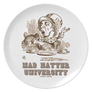 Universidad enojada del sombrerero sombrerero eno plato de cena