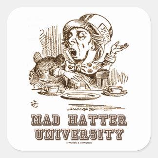 Universidad enojada del sombrerero (sombrerero pegatina cuadrada
