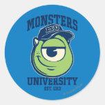 Universidad Est de los monstruos de Mike. 1313 Pegatina Redonda