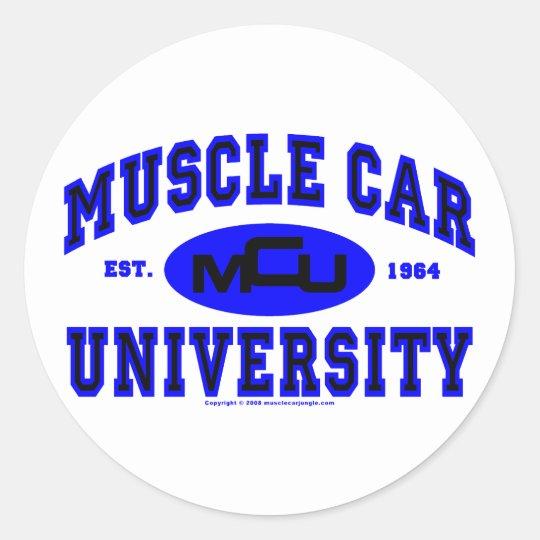 Universidad II del coche del músculo Pegatina Redonda