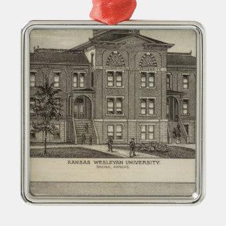 Universidad metodista de Kansas Adorno Navideño Cuadrado De Metal
