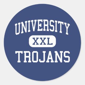 Universidad - Trojan - alta - Irvine California Etiqueta Redonda