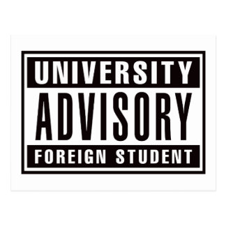 University Advisory Foreign Student Postcard