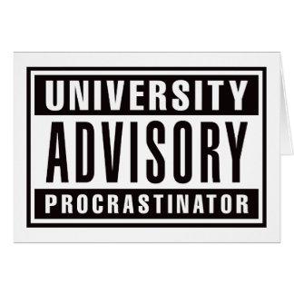 University Advisory Procrastinator Card