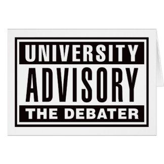 University Advisory The Debater Card