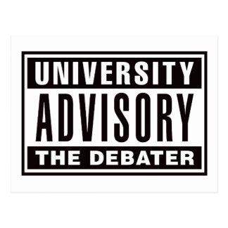 University Advisory The Debater Postcard