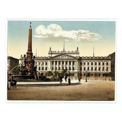University and Mendebrunnen, Leipsig (i.e., Leipzi Post Card