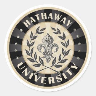 University Hathaway Black Classic Round Sticker