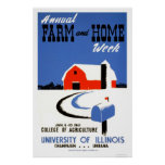 University Illinois Farm 1941 WPA Poster