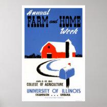 University Illinois Farm 1941 WPA Poster