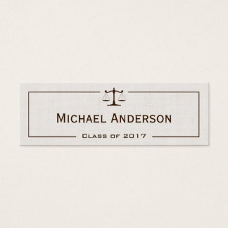 University Law School Student - Classic Linen Look Mini Business Card
