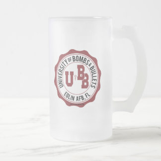 University of Bombs and Bullets Eglin Frosted Glass Beer Mug