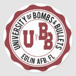 University of Bombs and Bullets Eglin Round Sticker