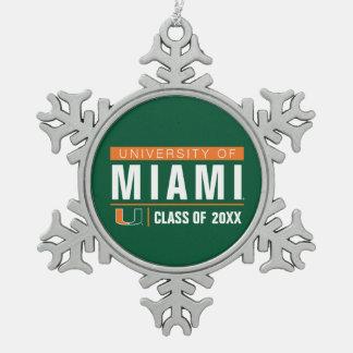 University of Miami Alumni Snowflake Pewter Christmas Ornament