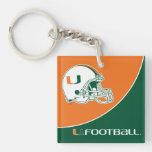 University of Miami Football Double-Sided Square Acrylic Keychain