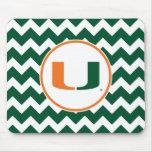 University of Miami Green and Orange U Mouse Pad