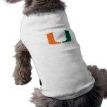 University of Miami Green and Orange U Pet T Shirt