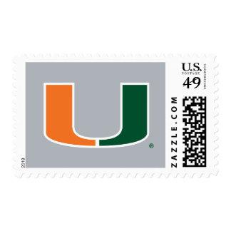 University of Miami Green and Orange U Stamps