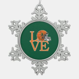 University of Miami Love Snowflake Pewter Christmas Ornament