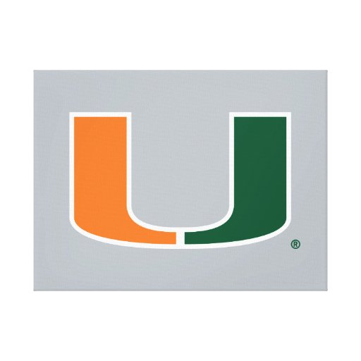 University of Miami Primary Mark Stretched Canvas Prints