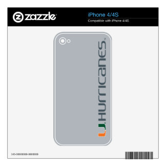 University of Miami Secondary Hurricanes Mark Skins For iPhone 4S