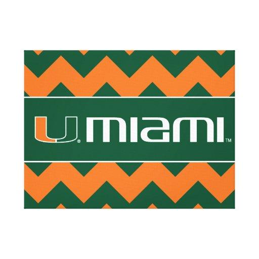 University of Miami Secondary Miami Mark Stretched Canvas Print