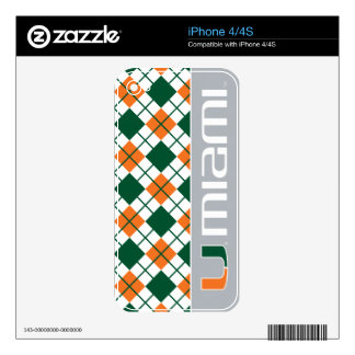 University of Miami Secondary Miami Mark Decal For iPhone 4