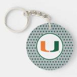 University of Miami U Double-Sided Round Acrylic Keychain