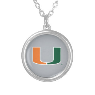 University of Miami U Silver Plated Necklace