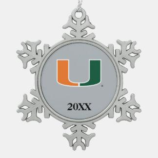 University of Miami U with Year Snowflake Pewter Christmas Ornament