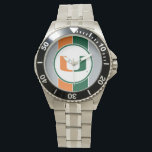 """University of Miami U Wristwatch<br><div class=""""desc"""">Get all of the best University of Miami gear at Zazzle.com! Support the Hurricanes in style with these products that are perfect for students, alumni, family, and fans. All of these products are customizable with your name, your sport, or your class year. Represent the U by sporting Green and Orange...</div>"""