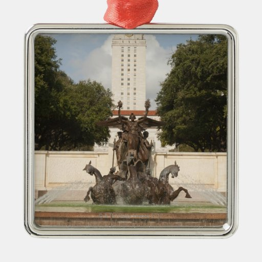 University of Texad Clock Tower. Square Metal Christmas Ornament