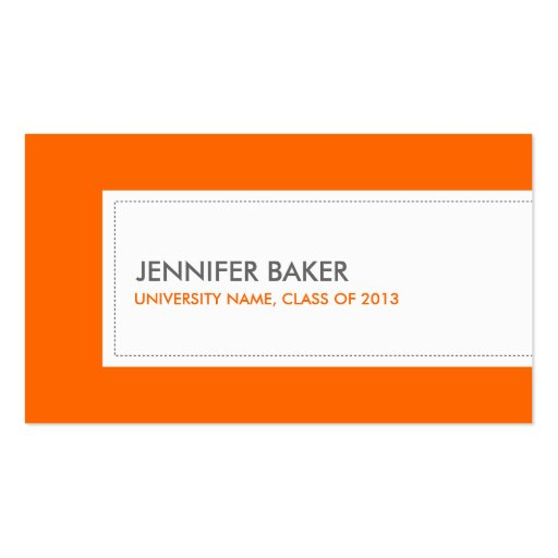 UNIVERSITY or COLLEGE STUDENT ORANGE Business Card