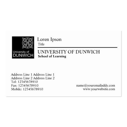 University Style Black Rule Business Card