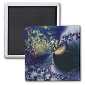 Universo · Arte del fractal · Azul y oro Imán De Nevera