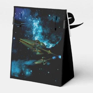Universo con la nave extranjera caja para regalos de fiestas