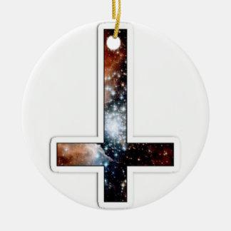 Universo cósmico invertido de la galaxia cruzada adorno de navidad