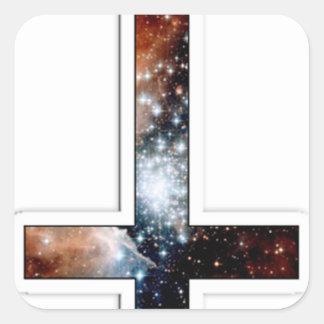 Universo cósmico invertido de la galaxia cruzada pegatina cuadrada